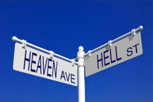 street post with heaven ave and hell st signs