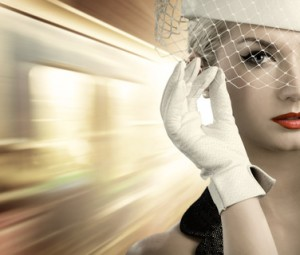 Beutiful womna close-up portrait. Fast moving train behind her