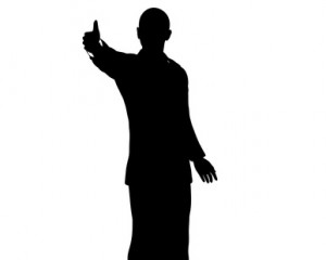 Barack Obama silhouette isolated on a white