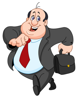 obese bald man