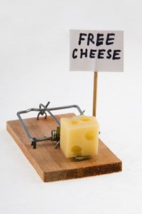 "mouse trap with cheese and ""free cheese"" sign."